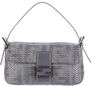FendiFendi Woven Leather Baguette Bag
