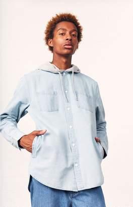 PacSun Denim Fleece Hood Long Sleeve Button Up Shirt