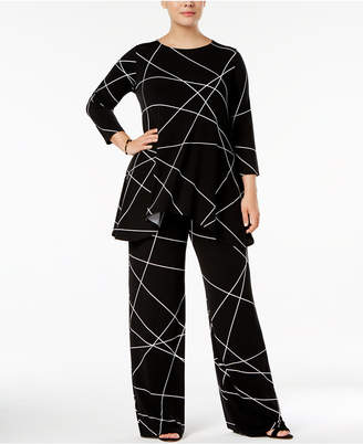 Alfani Plus Size Printed 3/4-Sleeve Tunic, Created for Macy's