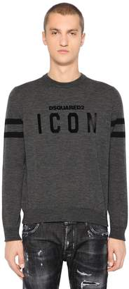DSQUARED2 Icon Flocked Wool Knit Sweater