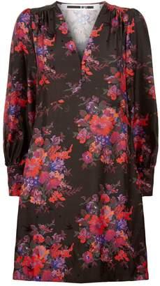 McQ Floral Silk V-Neck Dress