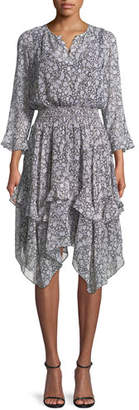 Shoshanna Koko Tiered Floral-Print Silk Blouson Dress