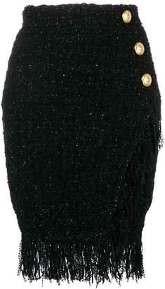 Balmain wrap-around fringed skirt