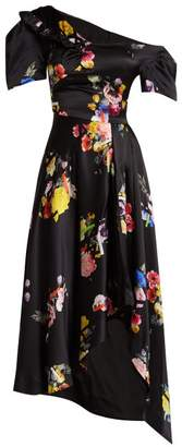 Preen by Thornton Bregazzi Irene Off The Shoulder Silk Dress - Womens - Black Multi