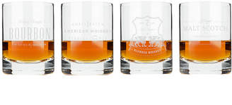 Viski Admiral Etched Whiskey Label Crystal Tumblers