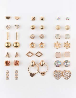 Full Tilt 20 Pairs Heart Rhinestone & Flower Stud Earrings