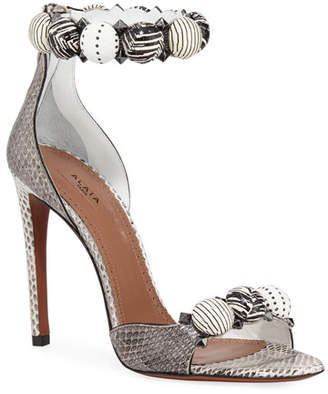 c713b313cf1d Alaia Bombe Stud Snakeskin Ankle-Wrap Sandals