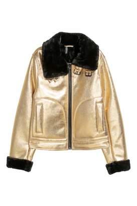 H&M Faux Fur-lined Jacket - Gold-colored/black - Women