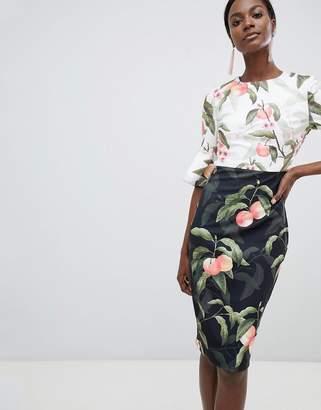 Ted Baker Areea Midi Dress in Peach Blossom Print