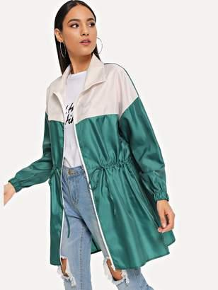 Shein Zipper Up Drawstring Color Block Rain Coat