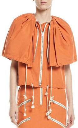 Calvin Klein Deep Cape Drawstring Zip-Front Canvas Jacket