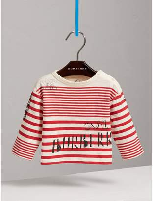 Burberry Childrens Long-sleeve SW1 Print Cotton Top