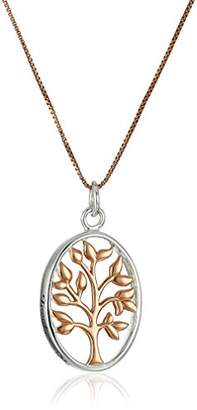 Sterling Silver and Rose Gold-Flashed Family Tree Two-Tone Pendant Necklace