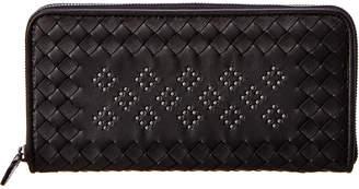 Bottega Veneta Microstud Intrecciato Leather Zip Around Wallet