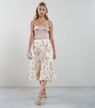 Reiss Alisandra Floral Print Pleated Skirt