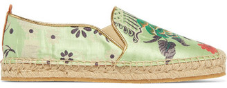 Etro - Embroidered Satin Espadrilles - Sage green $490 thestylecure.com