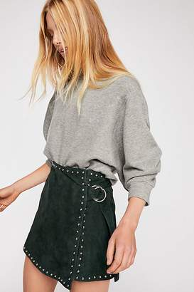 Understated Leather Emerald Studded Suede Mini Skirt