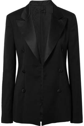 RtA Grayson Silk Satin-trimmed Wool Blazer - Black