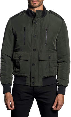 Jared Lang Semi-Fitted Stand Collar Military Jacket, Dark Green