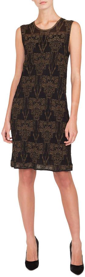 Akris Sleeveless Fruits of Vienna Jacquard Metallic Knit Knee-Length Dress