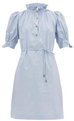 Apiece Apart Sabrina Cotton Poplin Mini Shirt Dress - Womens - Light Blue