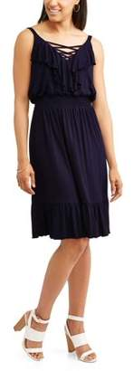Allison Brittney Women's Ruffle Front Smocked Waist Dress