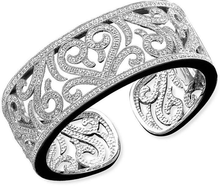 Sterling Silver Bracelet, Diamond Swirl Cuff (1 ct. t.w.)