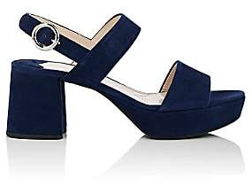 Prada Women's Suede Double-Band Platform Sandals - Navy
