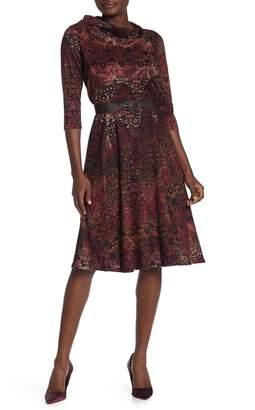Robbie Bee Cowl Neck Printed Belted Midi Dress