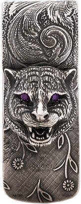 Gucci Feline Head Money Clip in Sterling Silver & Purple | FWRD