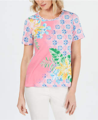 Alfred Dunner Palm Coast Mixed-Print Studded Top