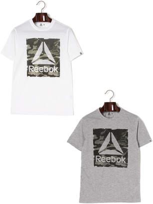 Reebok (リーボック) - Reebok カモフラージュ柄グラフィック クルーネック 半袖トップ 2色セット ホワイト&ミディアムグレイヘザー xs