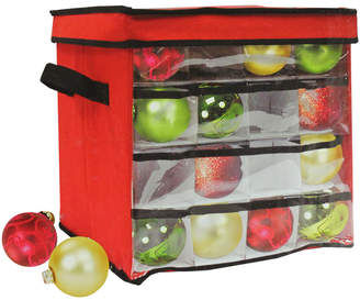 clear Northlight 12In Red & Christmas Ornament Storage Bag - Holds 64 Ornaments
