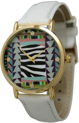 OLIVIA PRATT Olivia Pratt Womens Multi-Color Pattern With Gold-Tone Studs Dial White Leather Watch 13628White