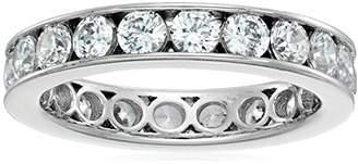 Swarovski Sterling Silver Zirconia 1 cttw Channel Set All-Around Eternity Ring