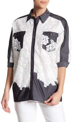Badgley Mischka Lace Front Pocket Top
