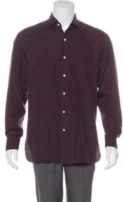 Isaia Floral Print Button-Up Shirt aubergine Floral Print Button-Up Shirt