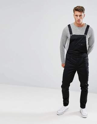 Asos DESIGN skinny overalls in black