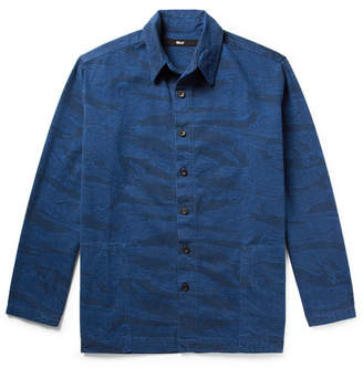 Billy Printed Denim Shirt Jacket - Navy