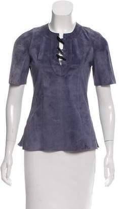 Derek Lam Short Sleeve Suede Leather Top w/ Tags