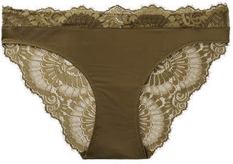 Hanro Laila Lace-trimmed Stretch-satin Briefs - Forest green