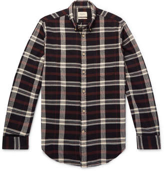Bellerose Flloyd Button-Down Collar Checked Cotton-Flannel Shirt