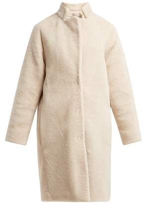 Herno Single Breasted Shearling Coat - Womens - Ivory