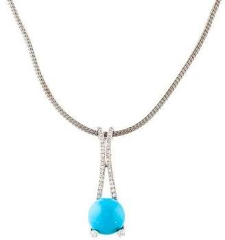 18K Turquoise & Diamond Pendant Necklace