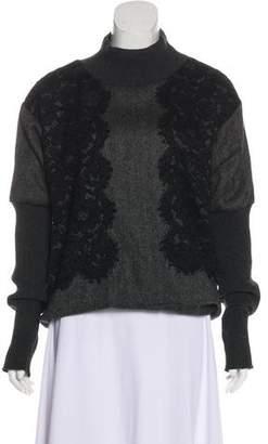 Dolce & Gabbana Lace-Accented Herringbone Sweater