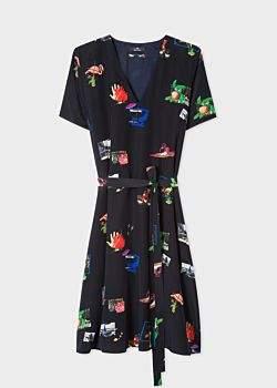 Women's Dark Navy 'Paul's Scrapbook' Print V-Neck Silk Dress