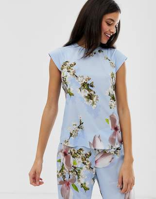 d4059a94f Ted Baker Harmony floral print jersey pyjama top in blue