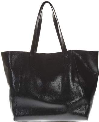 Hogan Black Shiny Leather Shopper Bag With Embossed Logo