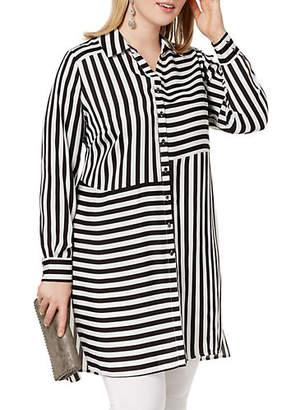 INC International Concepts Plus Long-Sleeve Striped Tunic