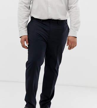 Burton Menswear Big & Tall slim smart trousers in navy